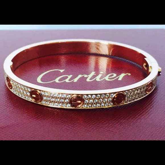 c4066fcc19af3 Cartier Love Bracelet 18K Rose Gold, Pave Diamonds